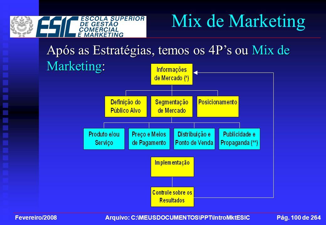 Fevereiro/2008 Arquivo: C:\MEUSDOCUMENTOS\PPT\IntroMktESIC Pág. 100 de 264 Mix de Marketing Após as Estratégias, temos os 4Ps ou Mix de Marketing: