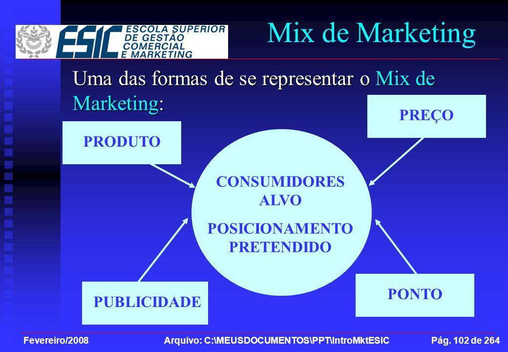 Fevereiro/2008 Arquivo: C:\MEUSDOCUMENTOS\PPT\IntroMktESIC Pág. 102 de 264 Mix de Marketing Uma das formas de se representar o Mix de Marketing: CONSU