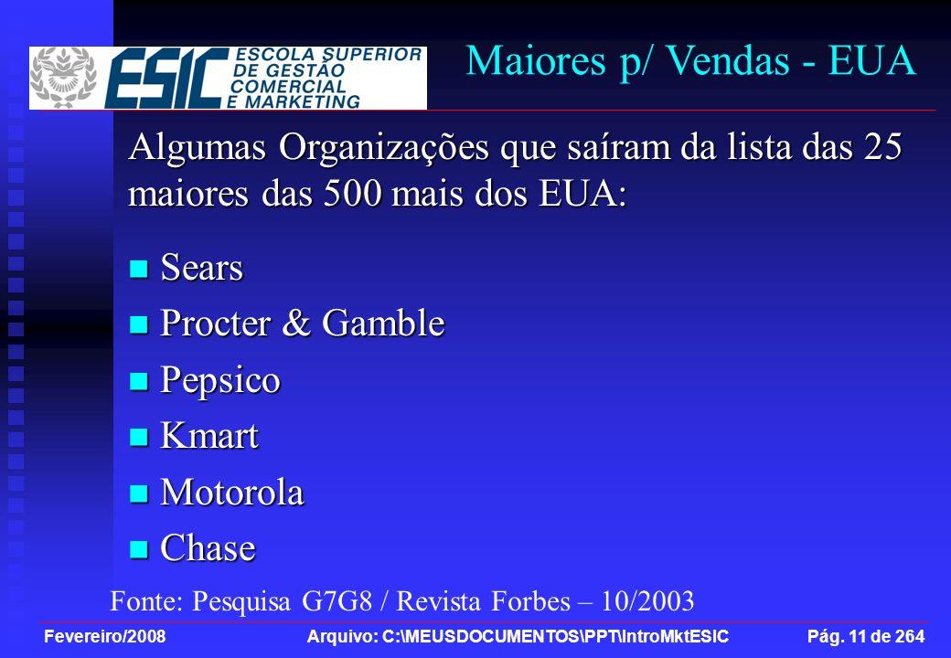 Fevereiro/2008 Arquivo: C:\MEUSDOCUMENTOS\PPT\IntroMktESIC Pág. 11 de 264 Maiores p/ Vendas - EUA Algumas Organizações que saíram da lista das 25 maio