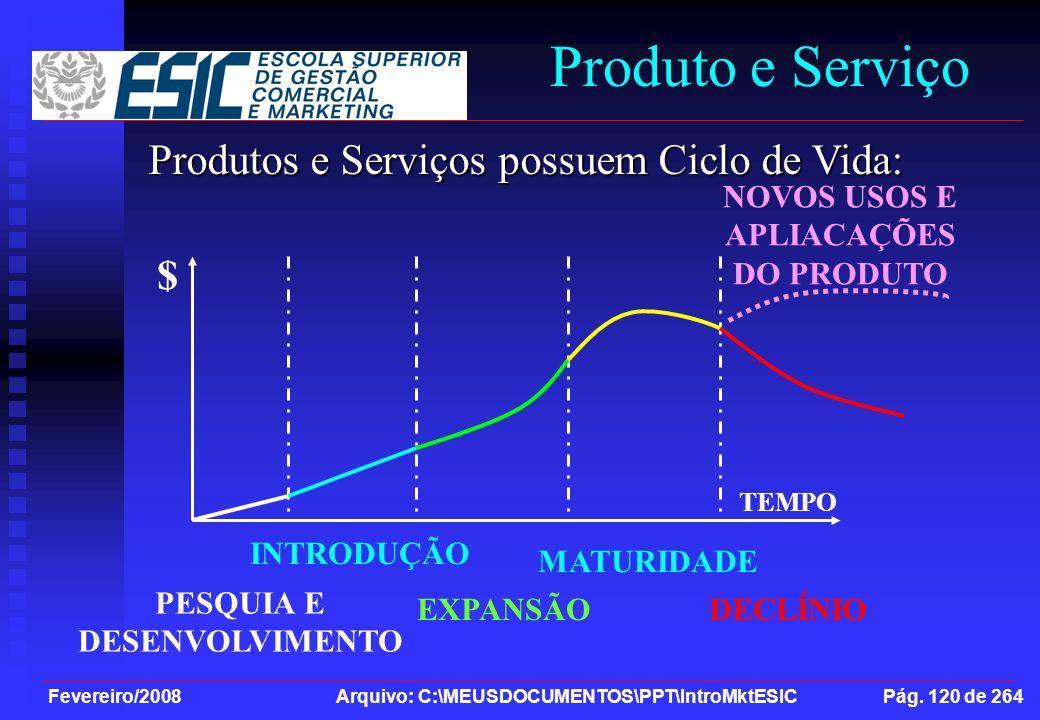 Fevereiro/2008 Arquivo: C:\MEUSDOCUMENTOS\PPT\IntroMktESIC Pág. 120 de 264 Produto e Serviço Produtos e Serviços possuem Ciclo de Vida: $ TEMPO PESQUI