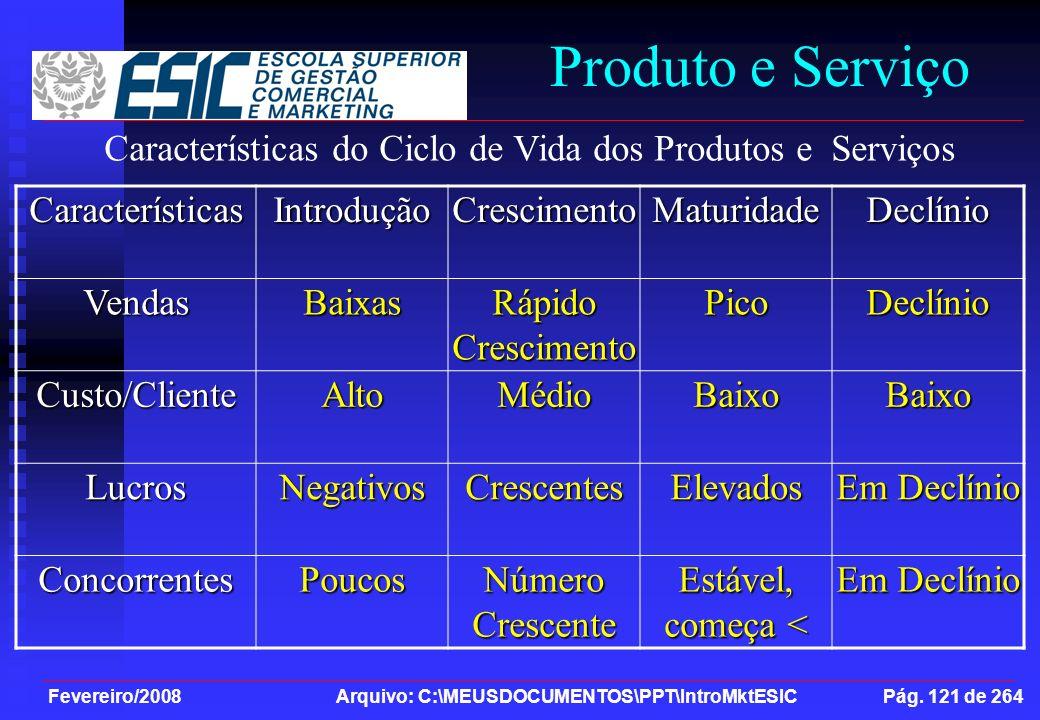 Fevereiro/2008 Arquivo: C:\MEUSDOCUMENTOS\PPT\IntroMktESIC Pág. 121 de 264 Produto e ServiçoCaracterísticasIntroduçãoCrescimentoMaturidadeDeclínioVend