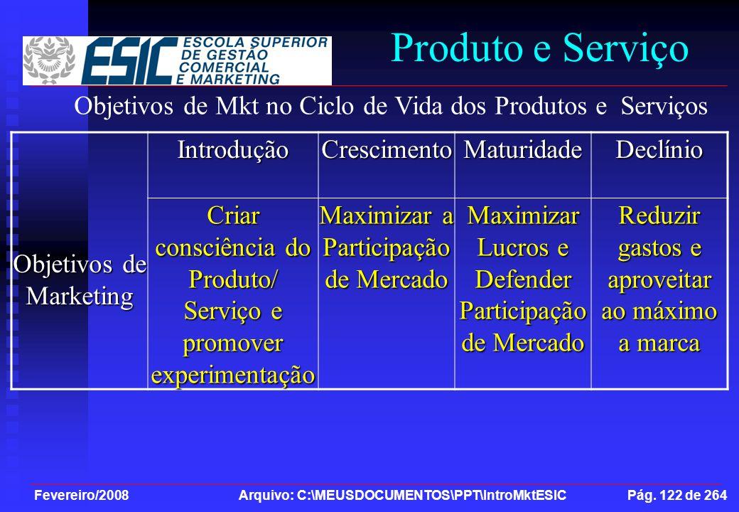 Fevereiro/2008 Arquivo: C:\MEUSDOCUMENTOS\PPT\IntroMktESIC Pág. 122 de 264 Produto e Serviço Objetivos de Marketing IntroduçãoCrescimentoMaturidadeDec