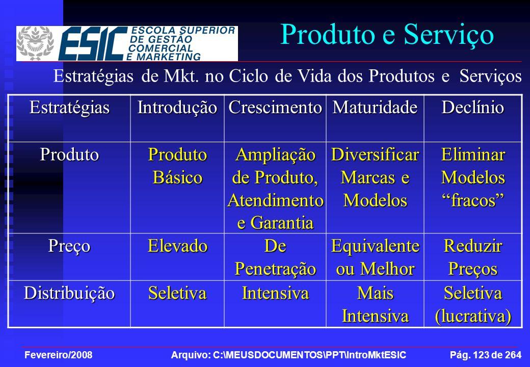 Fevereiro/2008 Arquivo: C:\MEUSDOCUMENTOS\PPT\IntroMktESIC Pág. 123 de 264 Produto e ServiçoEstratégiasIntroduçãoCrescimentoMaturidadeDeclínioProduto