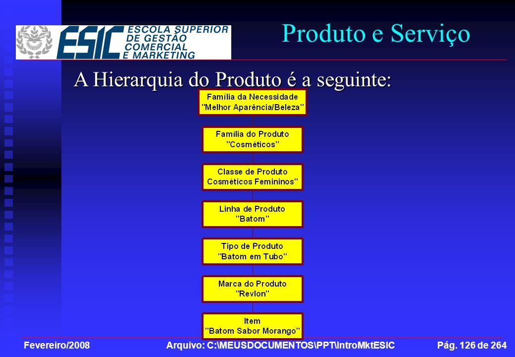 Fevereiro/2008 Arquivo: C:\MEUSDOCUMENTOS\PPT\IntroMktESIC Pág. 126 de 264 Produto e Serviço A Hierarquia do Produto é a seguinte: