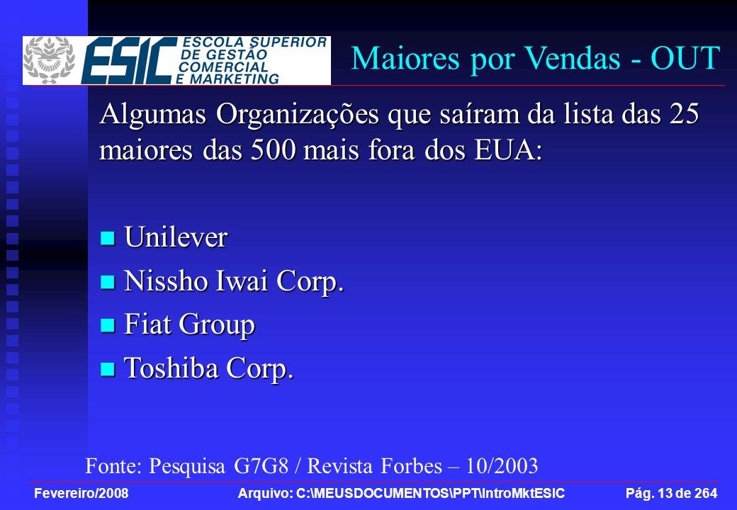 Fevereiro/2008 Arquivo: C:\MEUSDOCUMENTOS\PPT\IntroMktESIC Pág. 13 de 264 Maiores por Vendas - OUT Algumas Organizações que saíram da lista das 25 mai