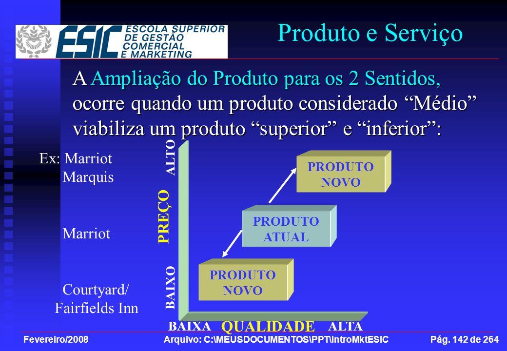 Fevereiro/2008 Arquivo: C:\MEUSDOCUMENTOS\PPT\IntroMktESIC Pág. 142 de 264 Produto e Serviço A Ampliação do Produto para os 2 Sentidos, ocorre quando