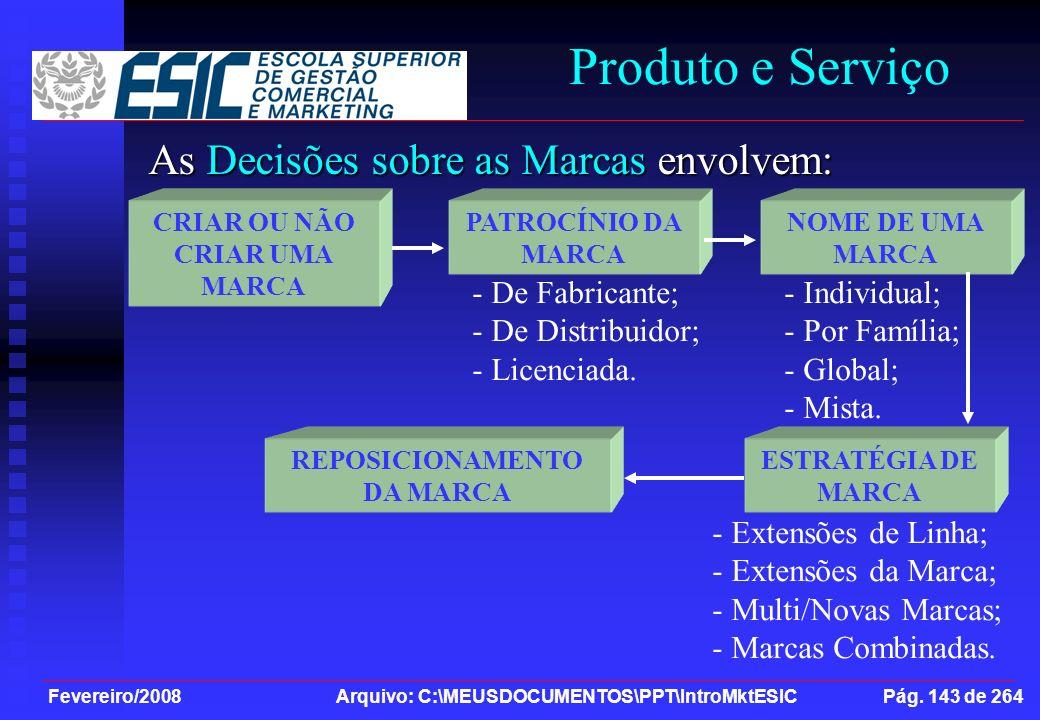 Fevereiro/2008 Arquivo: C:\MEUSDOCUMENTOS\PPT\IntroMktESIC Pág. 143 de 264 Produto e Serviço As Decisões sobre as Marcas envolvem: CRIAR OU NÃO CRIAR