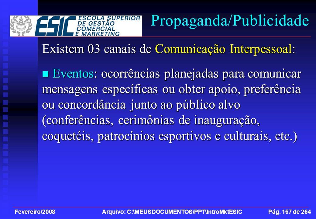 Fevereiro/2008 Arquivo: C:\MEUSDOCUMENTOS\PPT\IntroMktESIC Pág. 167 de 264 Propaganda/Publicidade Existem 03 canais de Comunicação Interpessoal: Event
