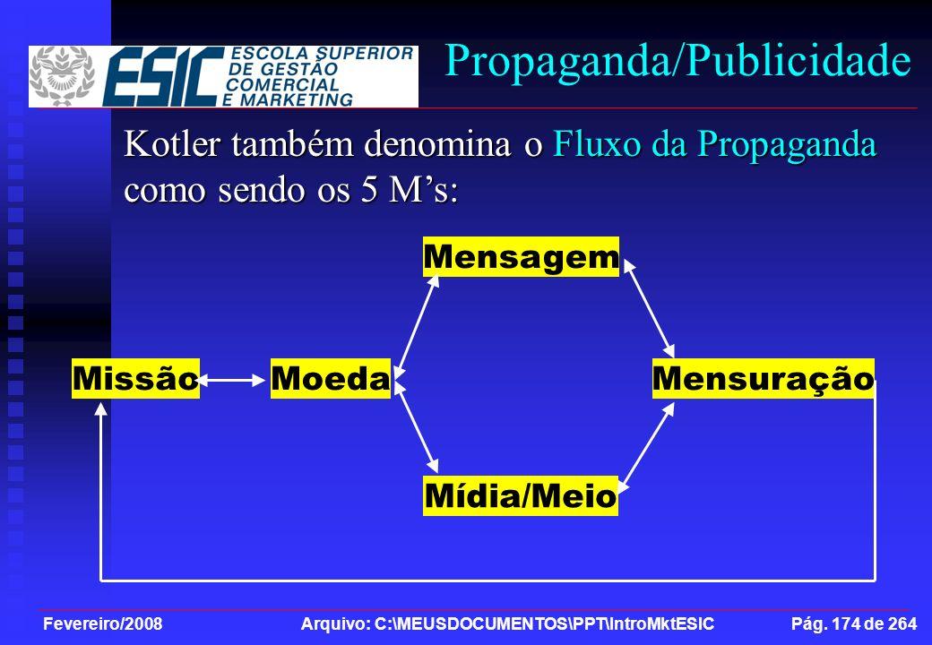 Fevereiro/2008 Arquivo: C:\MEUSDOCUMENTOS\PPT\IntroMktESIC Pág. 174 de 264 Propaganda/Publicidade Kotler também denomina o Fluxo da Propaganda como se