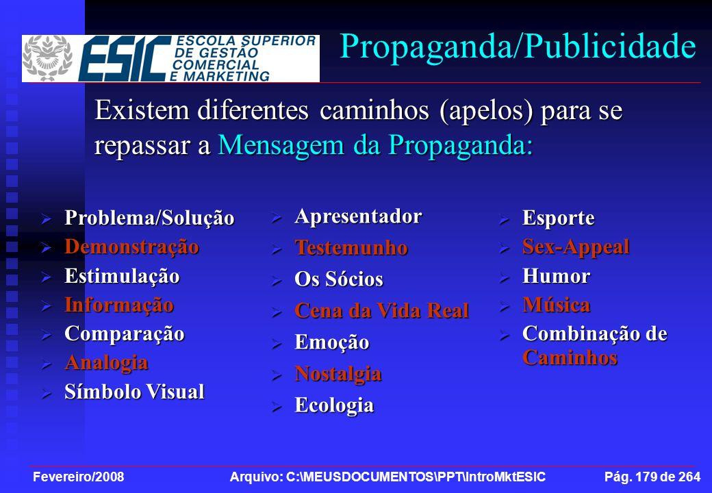 Fevereiro/2008 Arquivo: C:\MEUSDOCUMENTOS\PPT\IntroMktESIC Pág. 179 de 264 Propaganda/Publicidade Existem diferentes caminhos (apelos) para se repassa