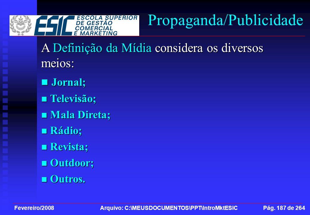 Fevereiro/2008 Arquivo: C:\MEUSDOCUMENTOS\PPT\IntroMktESIC Pág. 187 de 264 Propaganda/Publicidade A Definição da Mídia considera os diversos meios: Jo
