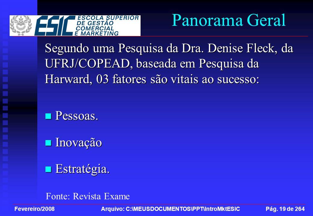 Fevereiro/2008 Arquivo: C:\MEUSDOCUMENTOS\PPT\IntroMktESIC Pág. 19 de 264 Panorama Geral Segundo uma Pesquisa da Dra. Denise Fleck, da UFRJ/COPEAD, ba