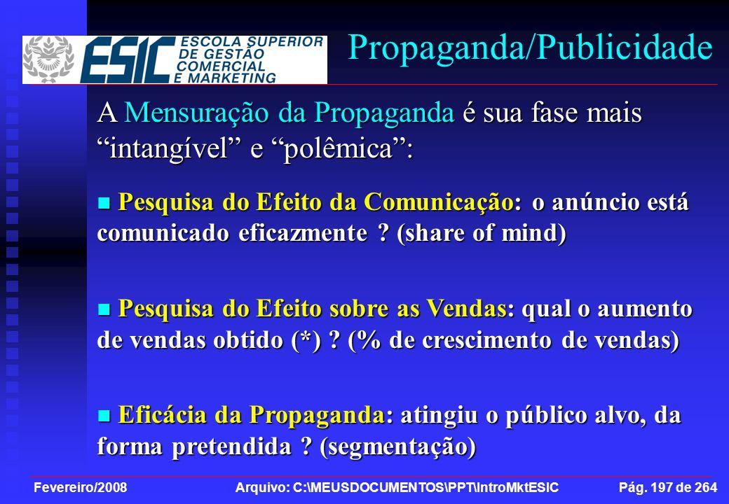 Fevereiro/2008 Arquivo: C:\MEUSDOCUMENTOS\PPT\IntroMktESIC Pág. 197 de 264 Propaganda/Publicidade A Mensuração da Propaganda é sua fase mais intangíve