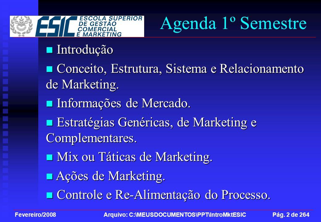 Fevereiro/2008 Arquivo: C:\MEUSDOCUMENTOS\PPT\IntroMktESIC Pág. 2 de 264 Agenda 1º Semestre Introdução Introdução Conceito, Estrutura, Sistema e Relac