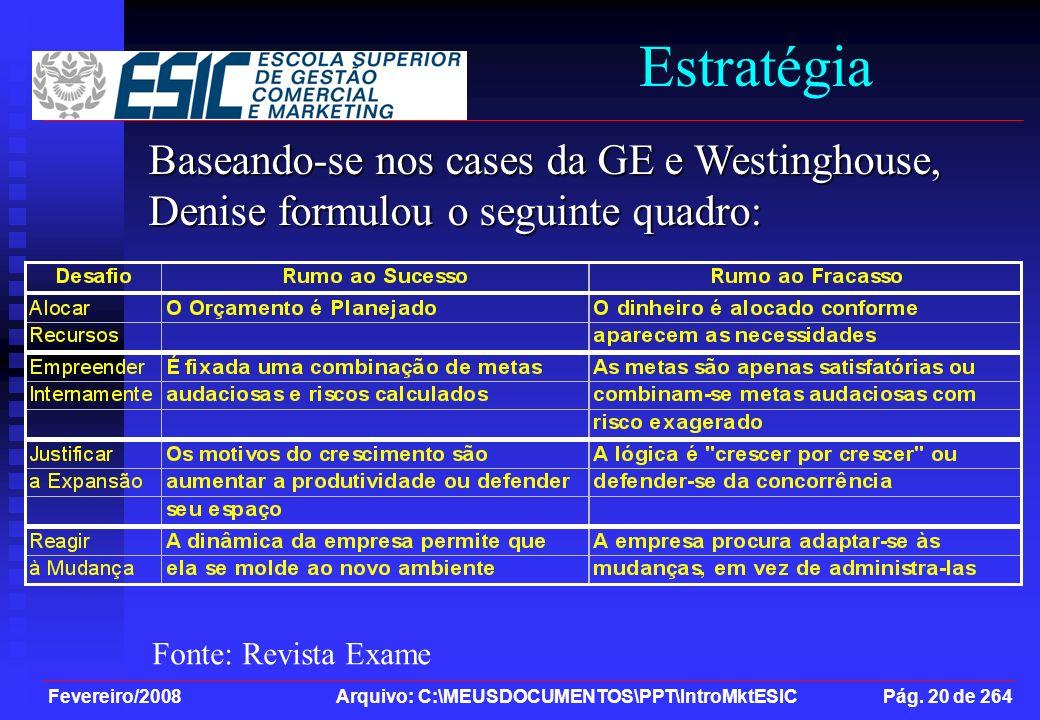 Fevereiro/2008 Arquivo: C:\MEUSDOCUMENTOS\PPT\IntroMktESIC Pág. 20 de 264 Estratégia Baseando-se nos cases da GE e Westinghouse, Denise formulou o seg