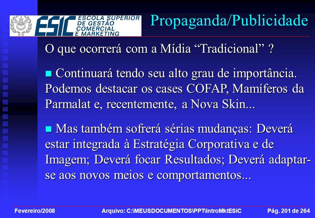 Fevereiro/2008 Arquivo: C:\MEUSDOCUMENTOS\PPT\IntroMktESIC Pág. 201 de 264 Propaganda/Publicidade O que ocorrerá com a Mídia Tradicional ? Continuará