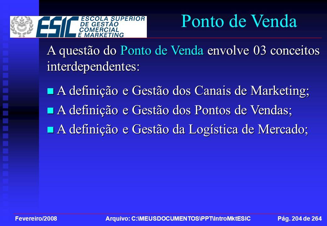 Fevereiro/2008 Arquivo: C:\MEUSDOCUMENTOS\PPT\IntroMktESIC Pág. 204 de 264 Ponto de Venda A questão do Ponto de Venda envolve 03 conceitos interdepend