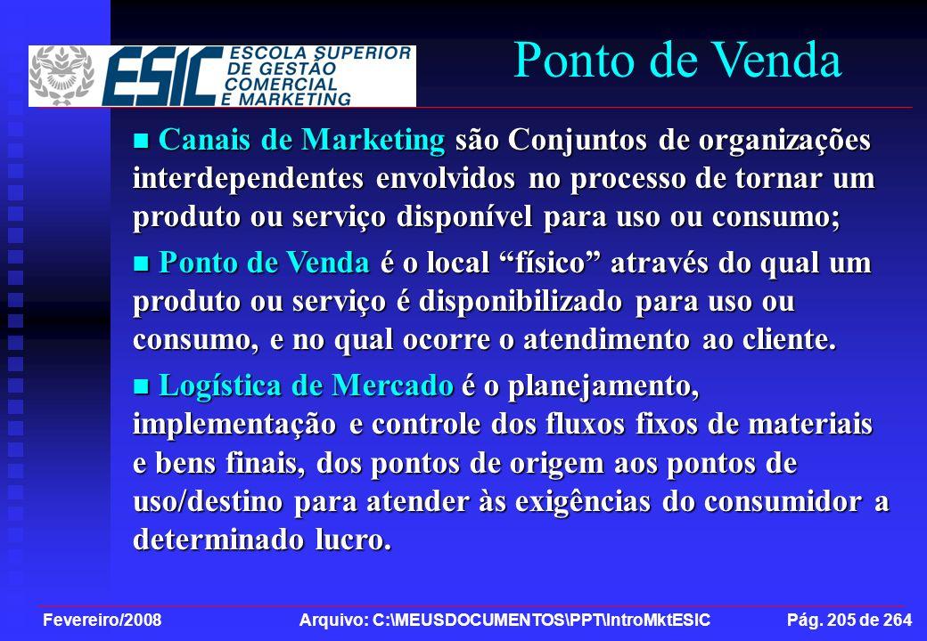 Fevereiro/2008 Arquivo: C:\MEUSDOCUMENTOS\PPT\IntroMktESIC Pág. 205 de 264 Ponto de Venda Canais de Marketing são Conjuntos de organizações interdepen
