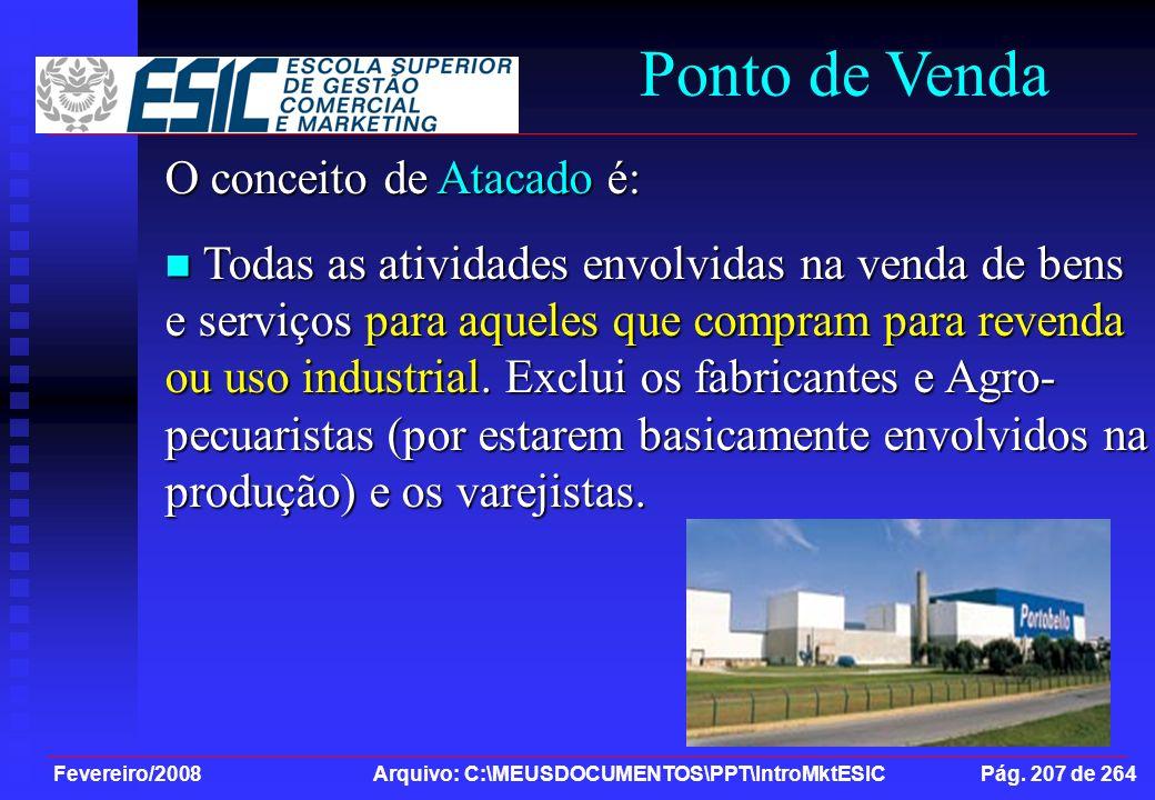 Fevereiro/2008 Arquivo: C:\MEUSDOCUMENTOS\PPT\IntroMktESIC Pág. 207 de 264 Ponto de Venda O conceito de Atacado é: Todas as atividades envolvidas na v