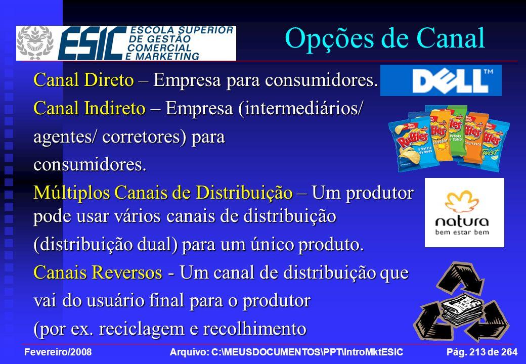 Fevereiro/2008 Arquivo: C:\MEUSDOCUMENTOS\PPT\IntroMktESIC Pág. 213 de 264 Canal Direto – Empresa para consumidores. Canal Indireto – Empresa (interme
