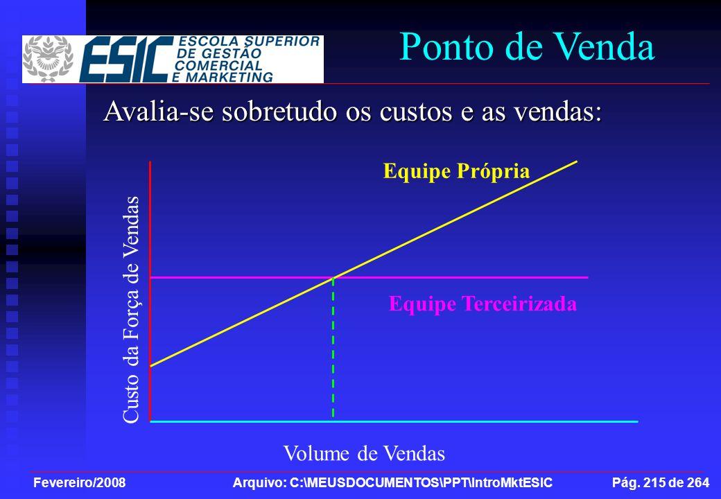 Fevereiro/2008 Arquivo: C:\MEUSDOCUMENTOS\PPT\IntroMktESIC Pág. 215 de 264 Ponto de Venda Avalia-se sobretudo os custos e as vendas: Volume de Vendas