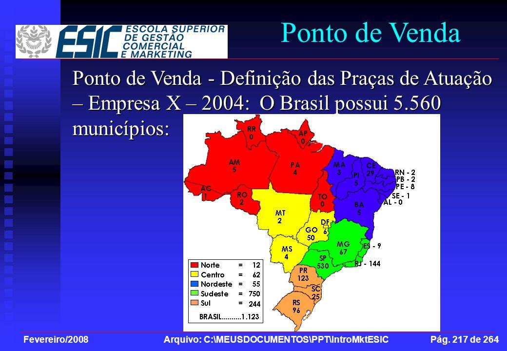 Fevereiro/2008 Arquivo: C:\MEUSDOCUMENTOS\PPT\IntroMktESIC Pág. 217 de 264 Ponto de Venda Ponto de Venda - Definição das Praças de Atuação – Empresa X