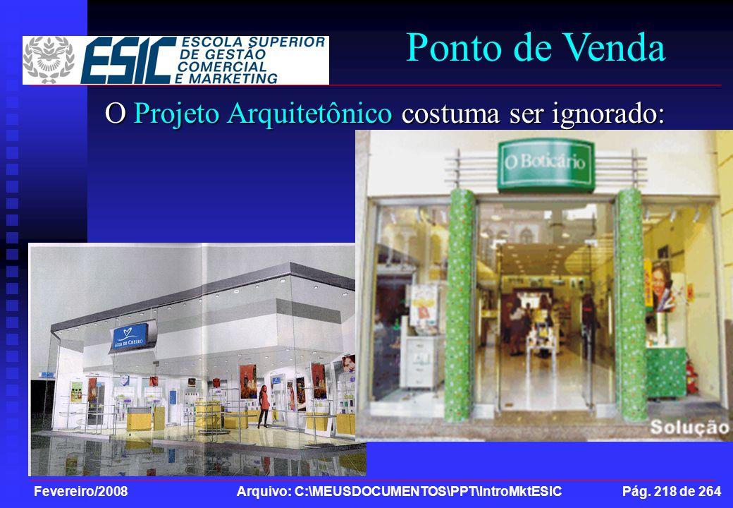 Fevereiro/2008 Arquivo: C:\MEUSDOCUMENTOS\PPT\IntroMktESIC Pág. 218 de 264 Ponto de Venda O Projeto Arquitetônico costuma ser ignorado: