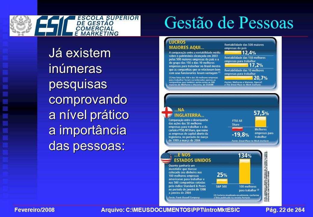 Fevereiro/2008 Arquivo: C:\MEUSDOCUMENTOS\PPT\IntroMktESIC Pág. 22 de 264 Já existem inúmeras pesquisas comprovando a nível prático a importância das