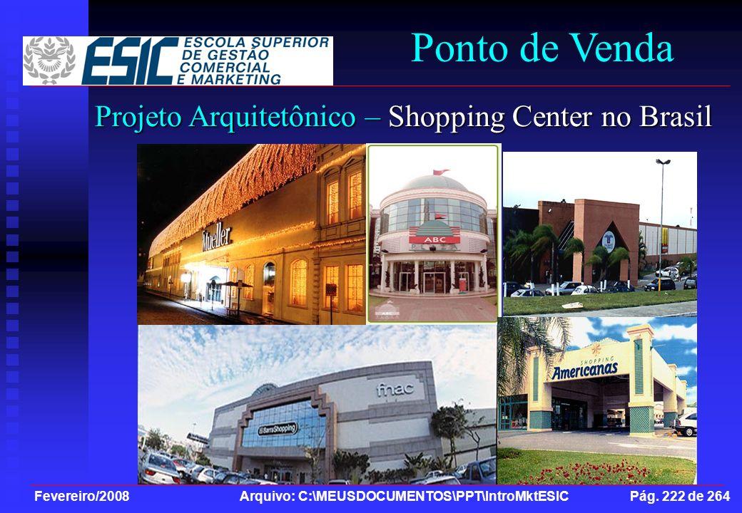 Fevereiro/2008 Arquivo: C:\MEUSDOCUMENTOS\PPT\IntroMktESIC Pág. 222 de 264 Ponto de Venda Projeto Arquitetônico – Shopping Center no Brasil