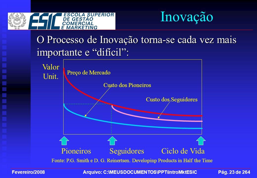 Fevereiro/2008 Arquivo: C:\MEUSDOCUMENTOS\PPT\IntroMktESIC Pág. 23 de 264 Inovação O Processo de Inovação torna-se cada vez mais importante e difícil: