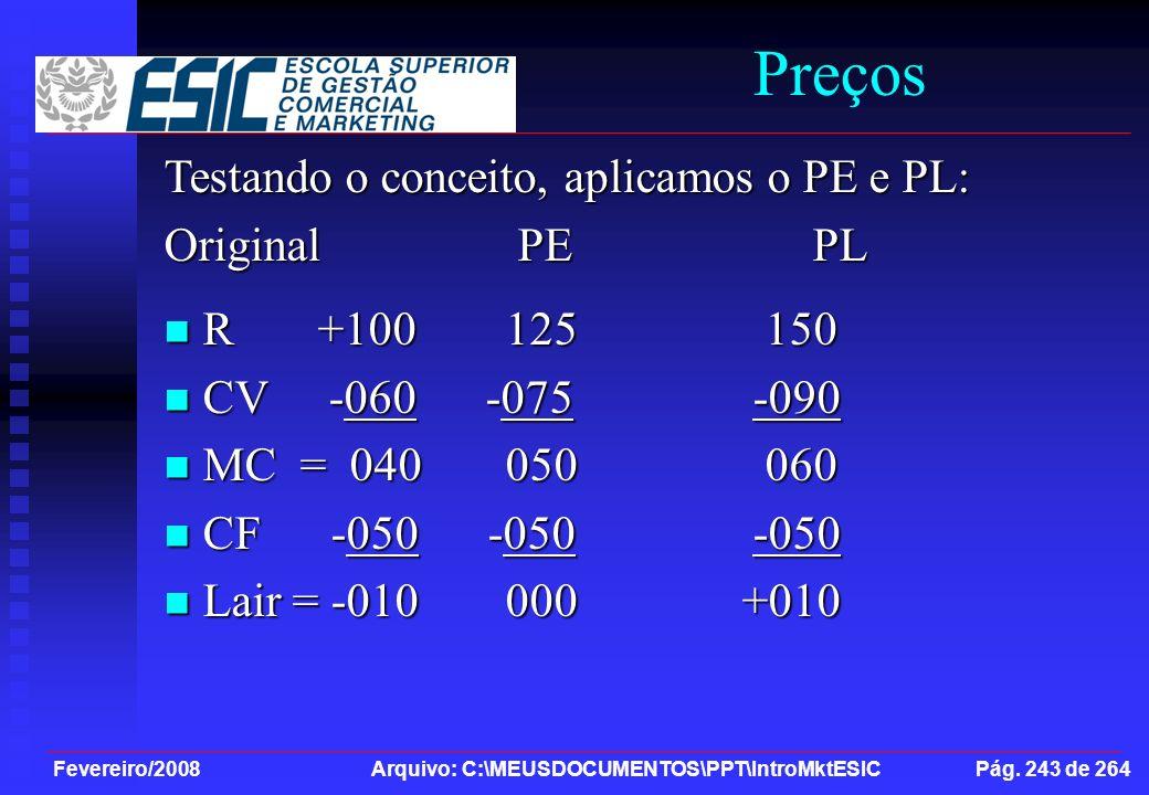 Fevereiro/2008 Arquivo: C:\MEUSDOCUMENTOS\PPT\IntroMktESIC Pág. 243 de 264 Preços Testando o conceito, aplicamos o PE e PL: Original PE PL R +100 125