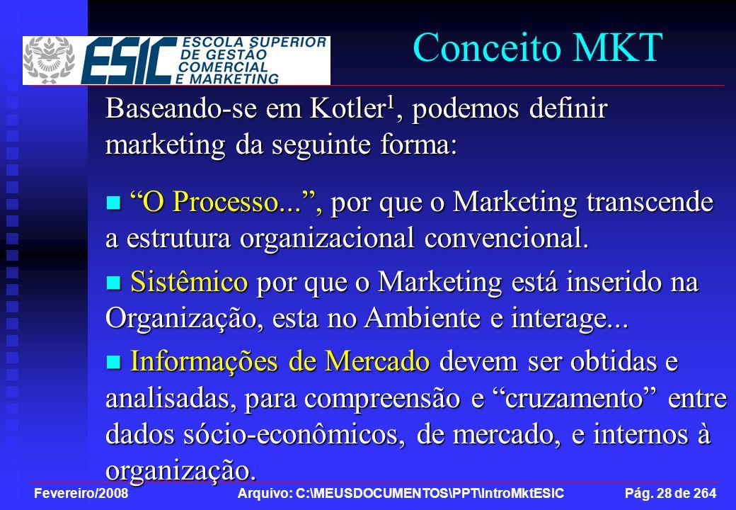 Fevereiro/2008 Arquivo: C:\MEUSDOCUMENTOS\PPT\IntroMktESIC Pág. 28 de 264 Conceito MKT Baseando-se em Kotler 1, podemos definir marketing da seguinte