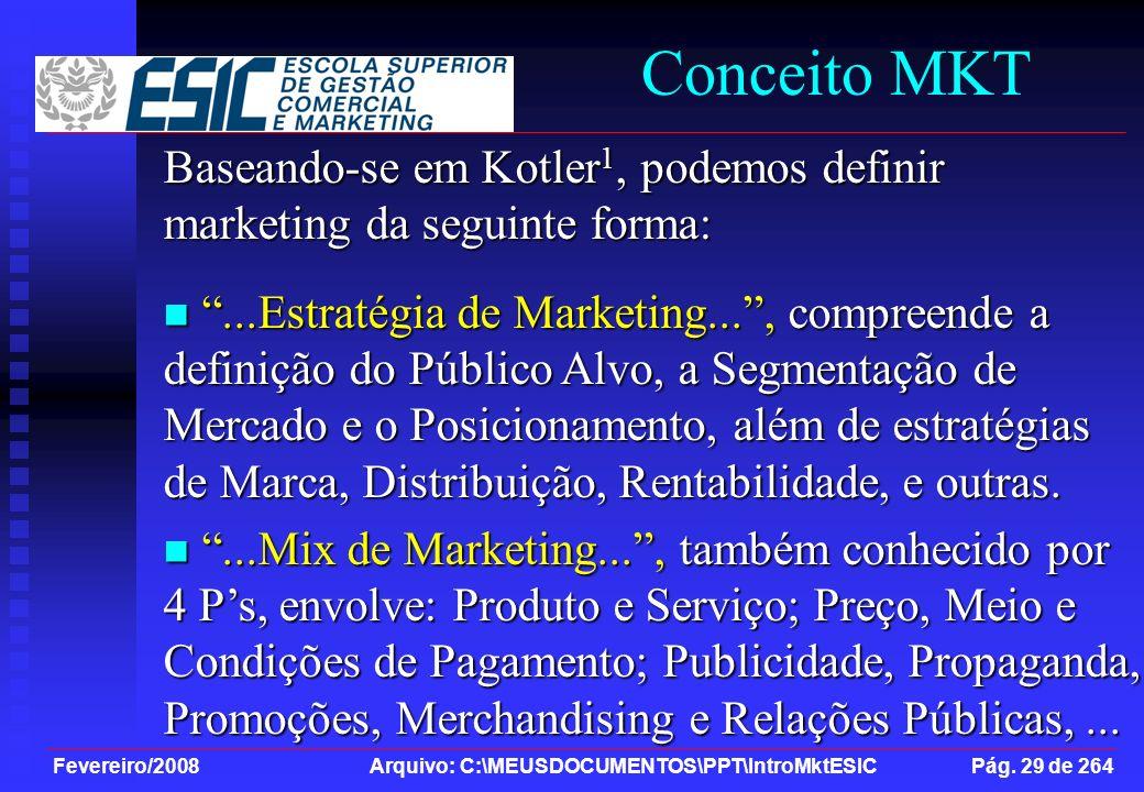 Fevereiro/2008 Arquivo: C:\MEUSDOCUMENTOS\PPT\IntroMktESIC Pág. 29 de 264 Conceito MKT Baseando-se em Kotler 1, podemos definir marketing da seguinte