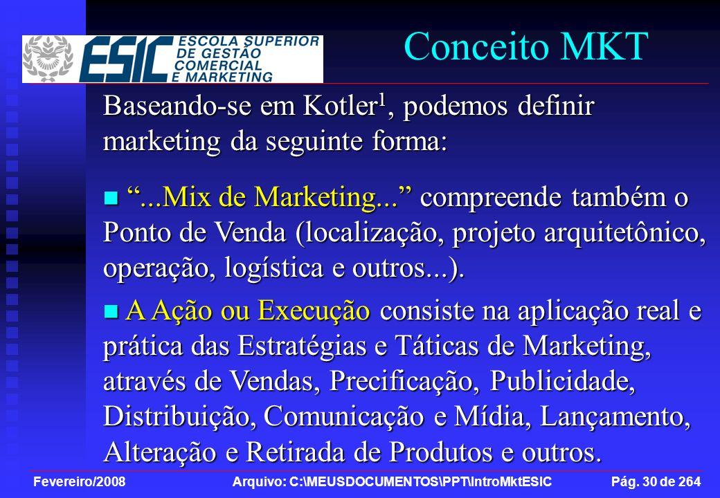 Fevereiro/2008 Arquivo: C:\MEUSDOCUMENTOS\PPT\IntroMktESIC Pág. 30 de 264 Conceito MKT Baseando-se em Kotler 1, podemos definir marketing da seguinte