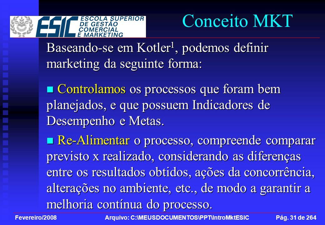 Fevereiro/2008 Arquivo: C:\MEUSDOCUMENTOS\PPT\IntroMktESIC Pág. 31 de 264 Conceito MKT Baseando-se em Kotler 1, podemos definir marketing da seguinte