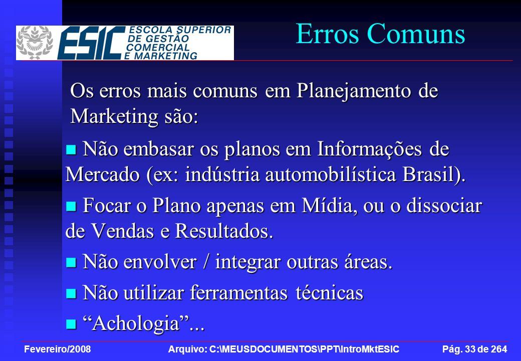 Fevereiro/2008 Arquivo: C:\MEUSDOCUMENTOS\PPT\IntroMktESIC Pág. 33 de 264 Erros Comuns Não embasar os planos em Informações de Mercado (ex: indústria