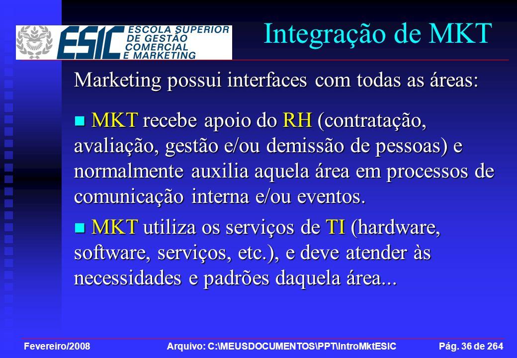 Fevereiro/2008 Arquivo: C:\MEUSDOCUMENTOS\PPT\IntroMktESIC Pág. 36 de 264 Integração de MKT Marketing possui interfaces com todas as áreas: MKT recebe