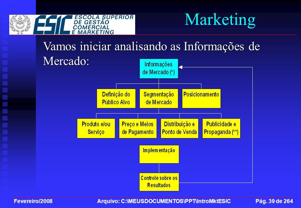 Fevereiro/2008 Arquivo: C:\MEUSDOCUMENTOS\PPT\IntroMktESIC Pág. 39 de 264 Marketing Vamos iniciar analisando as Informações de Mercado:
