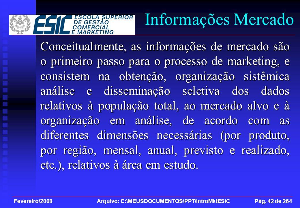 Fevereiro/2008 Arquivo: C:\MEUSDOCUMENTOS\PPT\IntroMktESIC Pág. 42 de 264 Informações Mercado Conceitualmente, as informações de mercado são o primeir