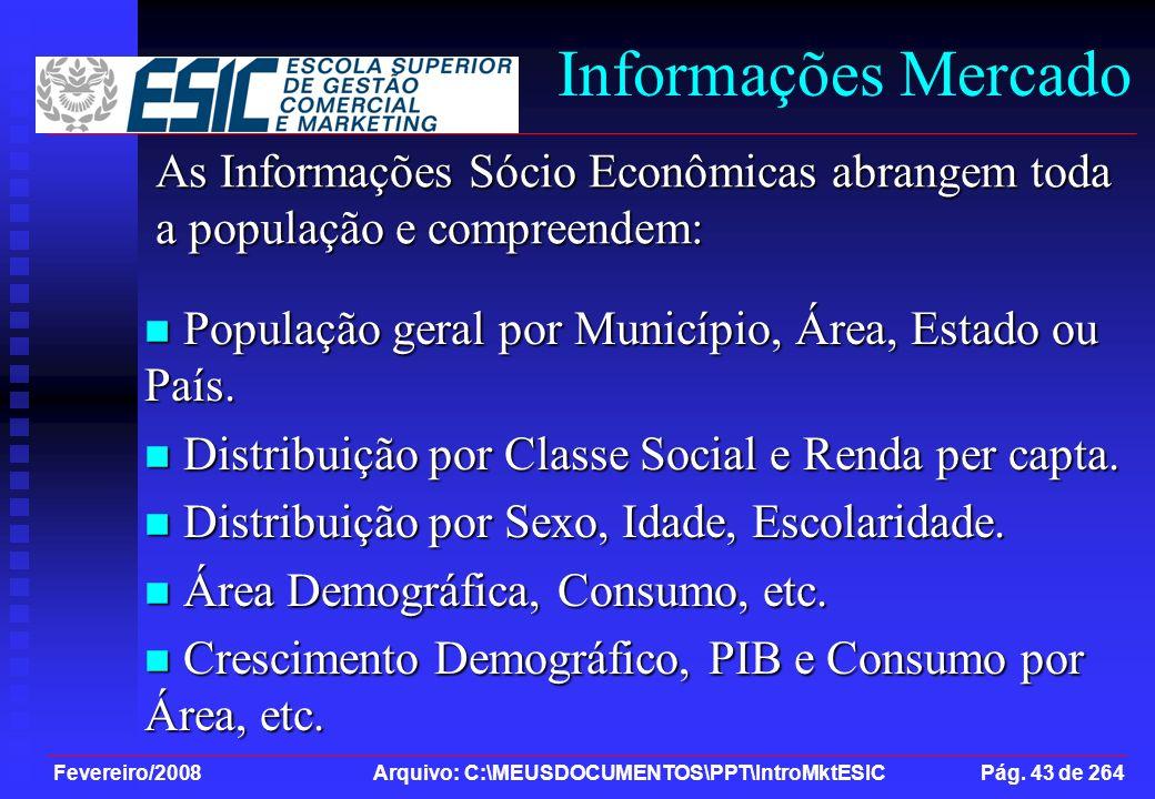 Fevereiro/2008 Arquivo: C:\MEUSDOCUMENTOS\PPT\IntroMktESIC Pág. 43 de 264 Informações Mercado População geral por Município, Área, Estado ou País. Pop