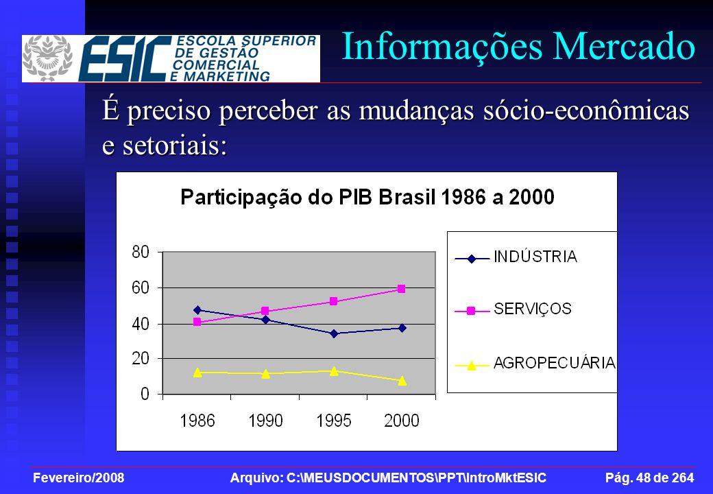 Fevereiro/2008 Arquivo: C:\MEUSDOCUMENTOS\PPT\IntroMktESIC Pág. 48 de 264 Informações Mercado É preciso perceber as mudanças sócio-econômicas e setori