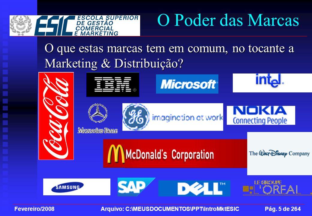 Fevereiro/2008 Arquivo: C:\MEUSDOCUMENTOS\PPT\IntroMktESIC Pág. 5 de 264 O que estas marcas tem em comum, no tocante a Marketing & Distribuição? O Pod