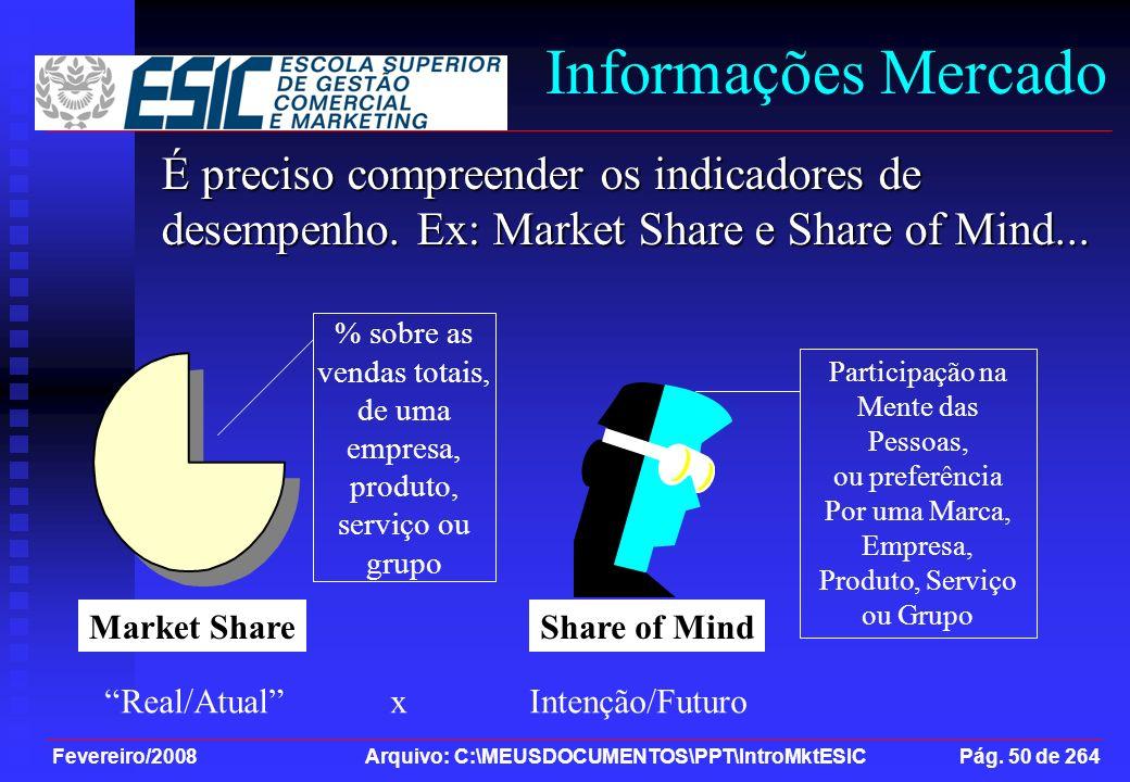 Fevereiro/2008 Arquivo: C:\MEUSDOCUMENTOS\PPT\IntroMktESIC Pág. 50 de 264 Informações Mercado É preciso compreender os indicadores de desempenho. Ex: