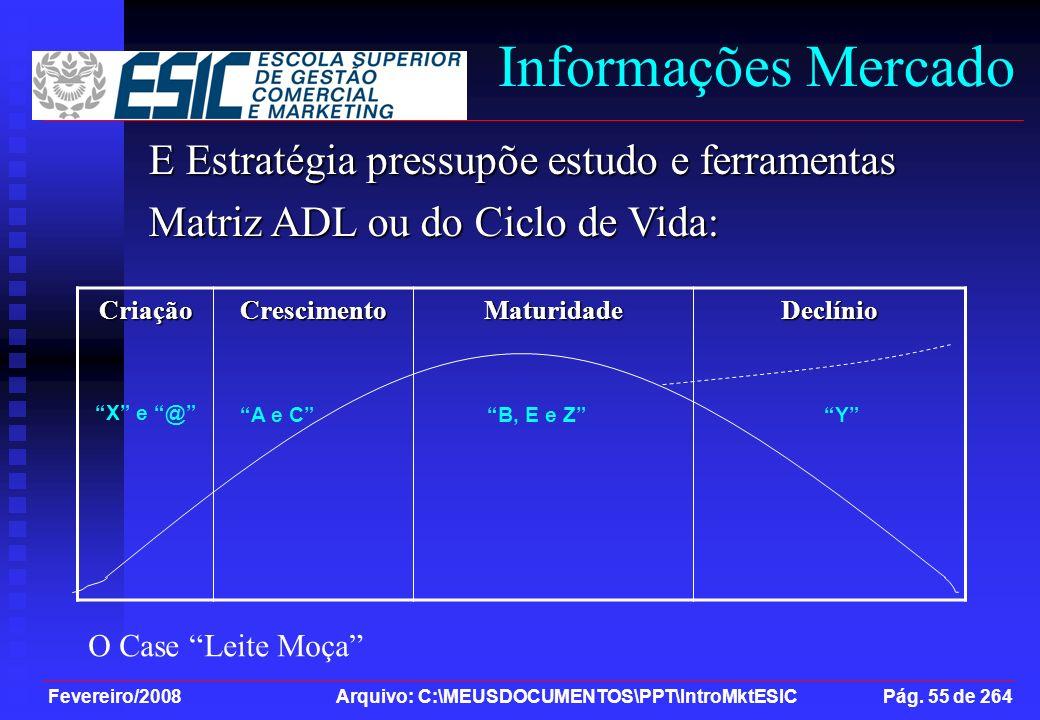 Fevereiro/2008 Arquivo: C:\MEUSDOCUMENTOS\PPT\IntroMktESIC Pág. 55 de 264 Informações Mercado E Estratégia pressupõe estudo e ferramentas Matriz ADL o