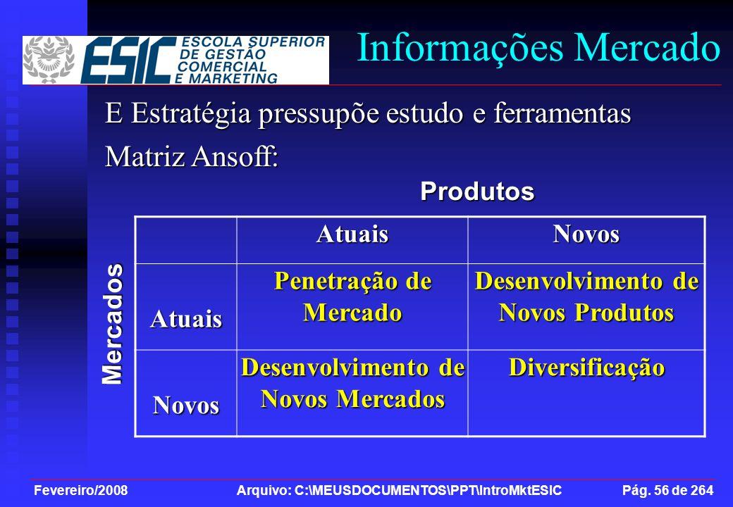 Fevereiro/2008 Arquivo: C:\MEUSDOCUMENTOS\PPT\IntroMktESIC Pág. 56 de 264 Informações Mercado E Estratégia pressupõe estudo e ferramentas Matriz Ansof