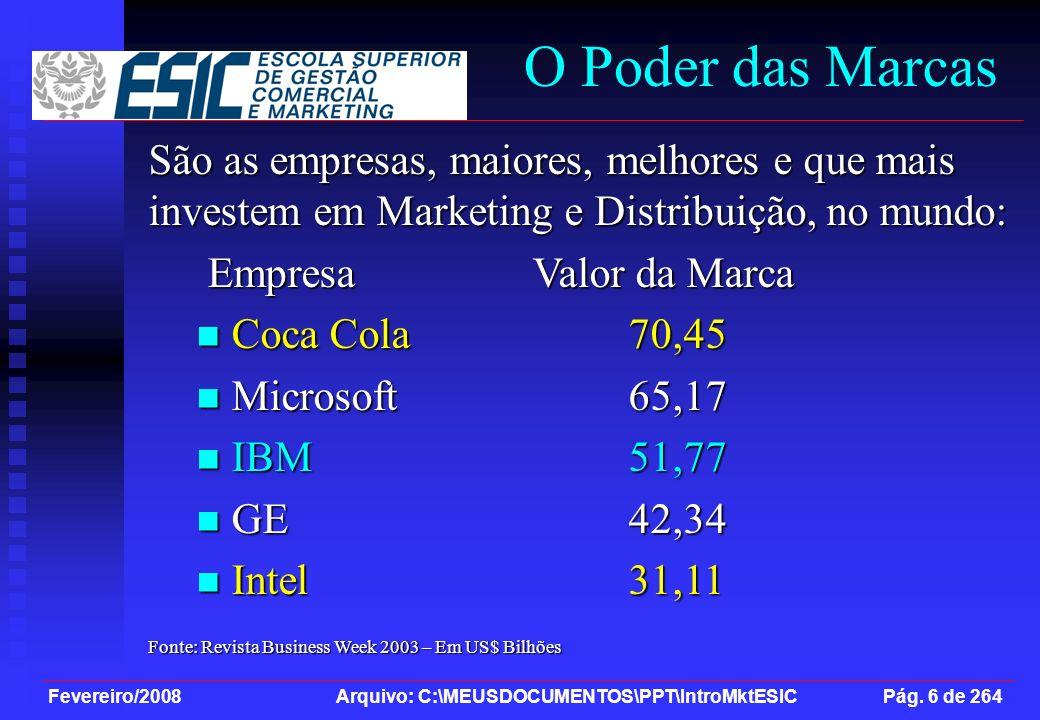 Fevereiro/2008 Arquivo: C:\MEUSDOCUMENTOS\PPT\IntroMktESIC Pág. 6 de 264 São as empresas, maiores, melhores e que mais investem em Marketing e Distrib