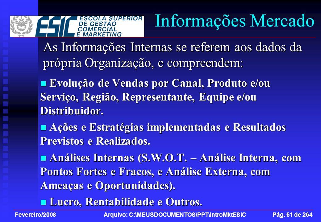 Fevereiro/2008 Arquivo: C:\MEUSDOCUMENTOS\PPT\IntroMktESIC Pág. 61 de 264 Informações Mercado Evolução de Vendas por Canal, Produto e/ou Serviço, Regi
