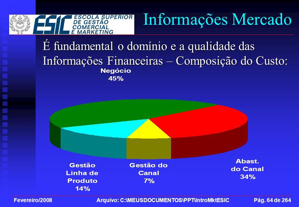 Fevereiro/2008 Arquivo: C:\MEUSDOCUMENTOS\PPT\IntroMktESIC Pág. 64 de 264 Informações Mercado É fundamental o domínio e a qualidade das Informações Fi