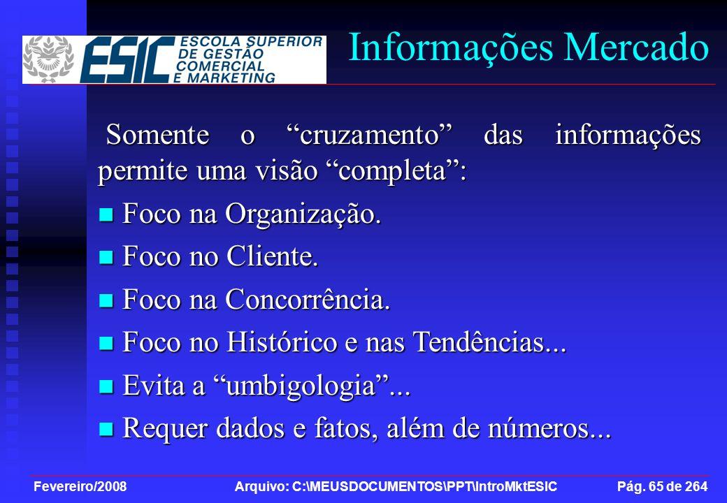 Fevereiro/2008 Arquivo: C:\MEUSDOCUMENTOS\PPT\IntroMktESIC Pág. 65 de 264 Informações Mercado Somente o cruzamento das informações permite uma visão c