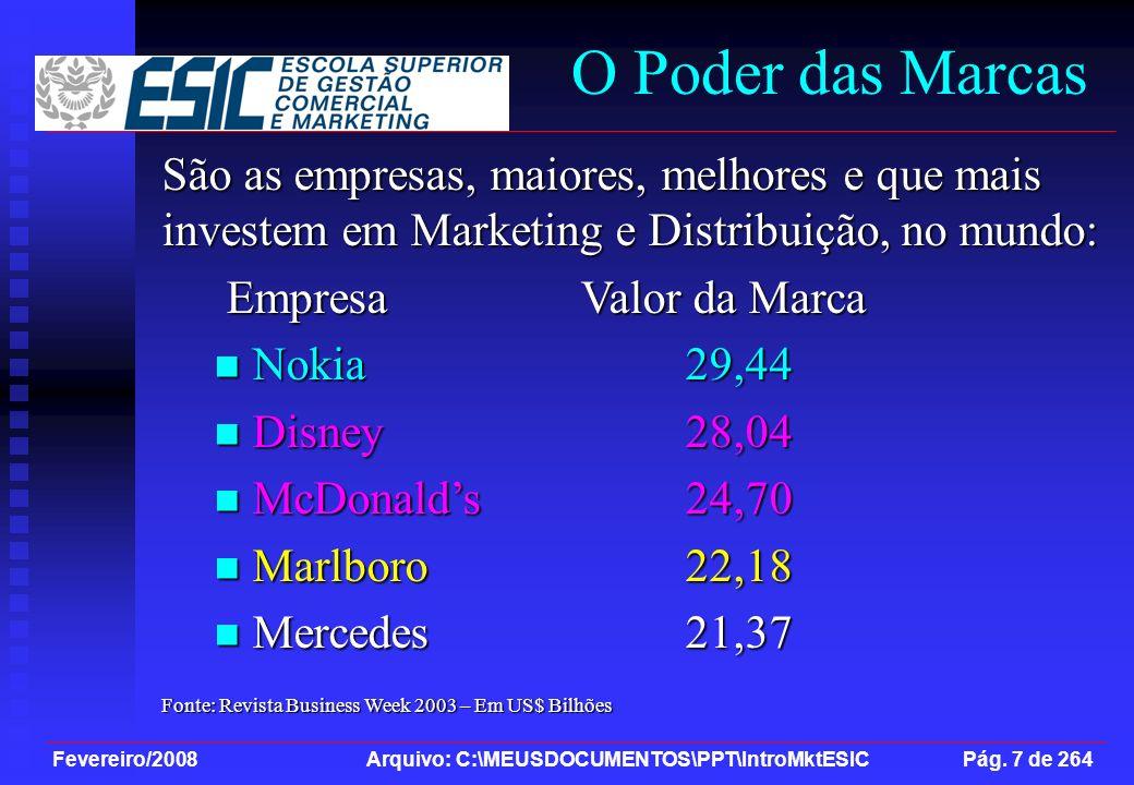 Fevereiro/2008 Arquivo: C:\MEUSDOCUMENTOS\PPT\IntroMktESIC Pág. 7 de 264 São as empresas, maiores, melhores e que mais investem em Marketing e Distrib
